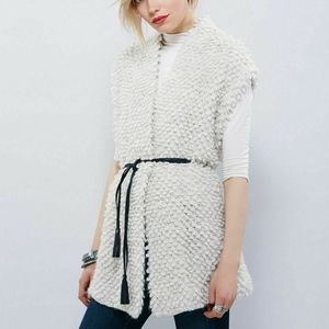 Free People Knit Chunky Soft Alpaca Belted Vest S